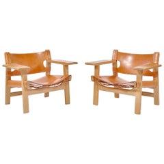 "Børge Mogensen Danish Modern Lounge ""Spanish Chairs"" in Oak and Saddle Leather"