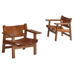 "Børge Mogensen  ""Spanish Chairs"" in Oak and Saddle Leather, Danish Modern, 1950s"