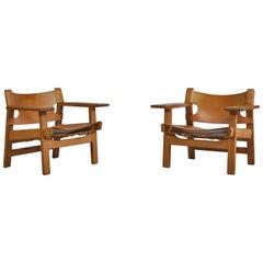 "Børge Mogensen Danish Modern ""Spanish Chairs"" no. 2226 in Oak and Saddle Leather"