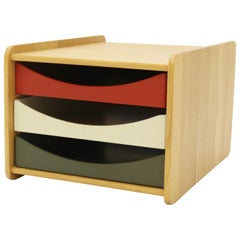 Børge Mogensen, Desk Organizer in Oak and Lacquered Metal, 1960s