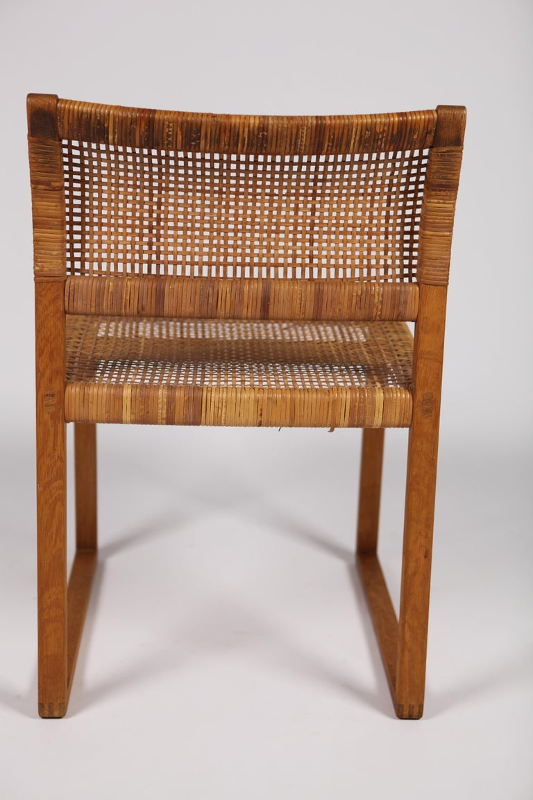 Børge Mogensen, Dining Chairs in Oak and Woven Cane, Denmark, 1957 For Sale 10