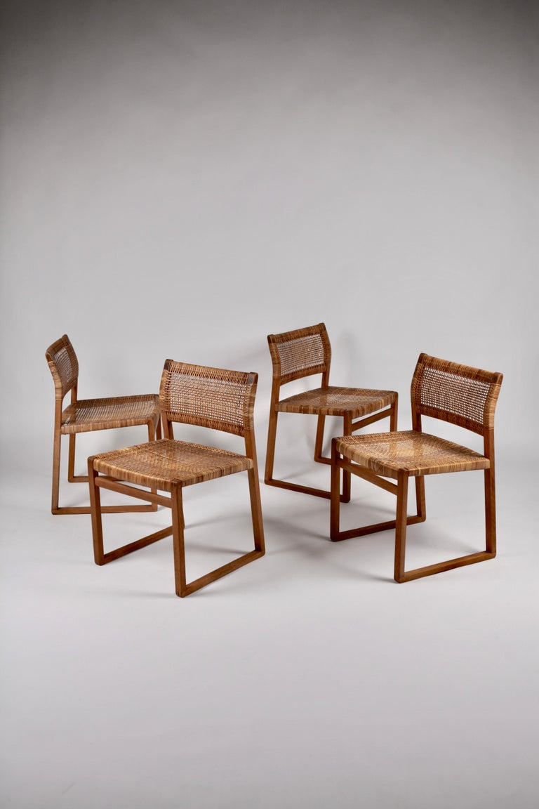 Mid-20th Century Børge Mogensen, Dining Chairs in Oak and Woven Cane, Denmark, 1957 For Sale