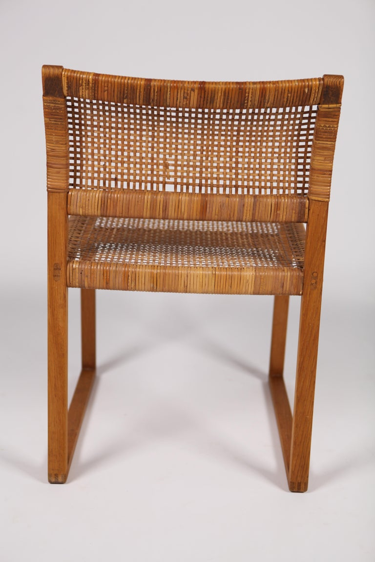 Børge Mogensen, Dining Chairs in Oak and Woven Cane, Denmark, 1957 For Sale 3