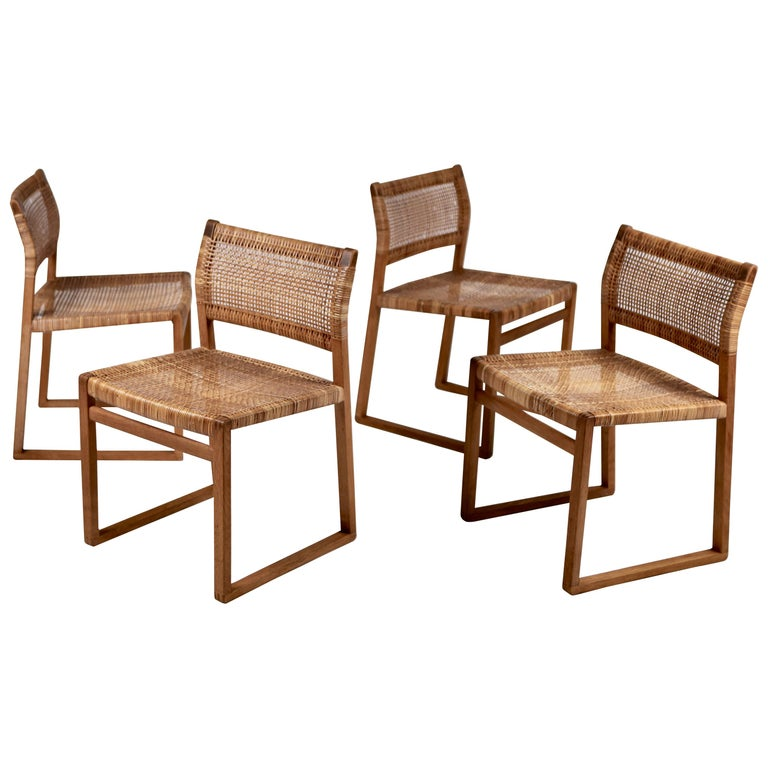 Børge Mogensen, Dining Chairs in Oak and Woven Cane, Denmark, 1957 For Sale