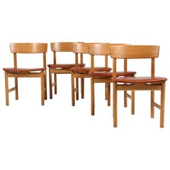 Børge Mogensen Dining Chairs, Model 3236, Oak and Cognac Aniline Leather