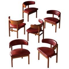 Børge Mogensen, Dining Chairs, Solid Oak, Leather, Frederica Furniture, Denmark