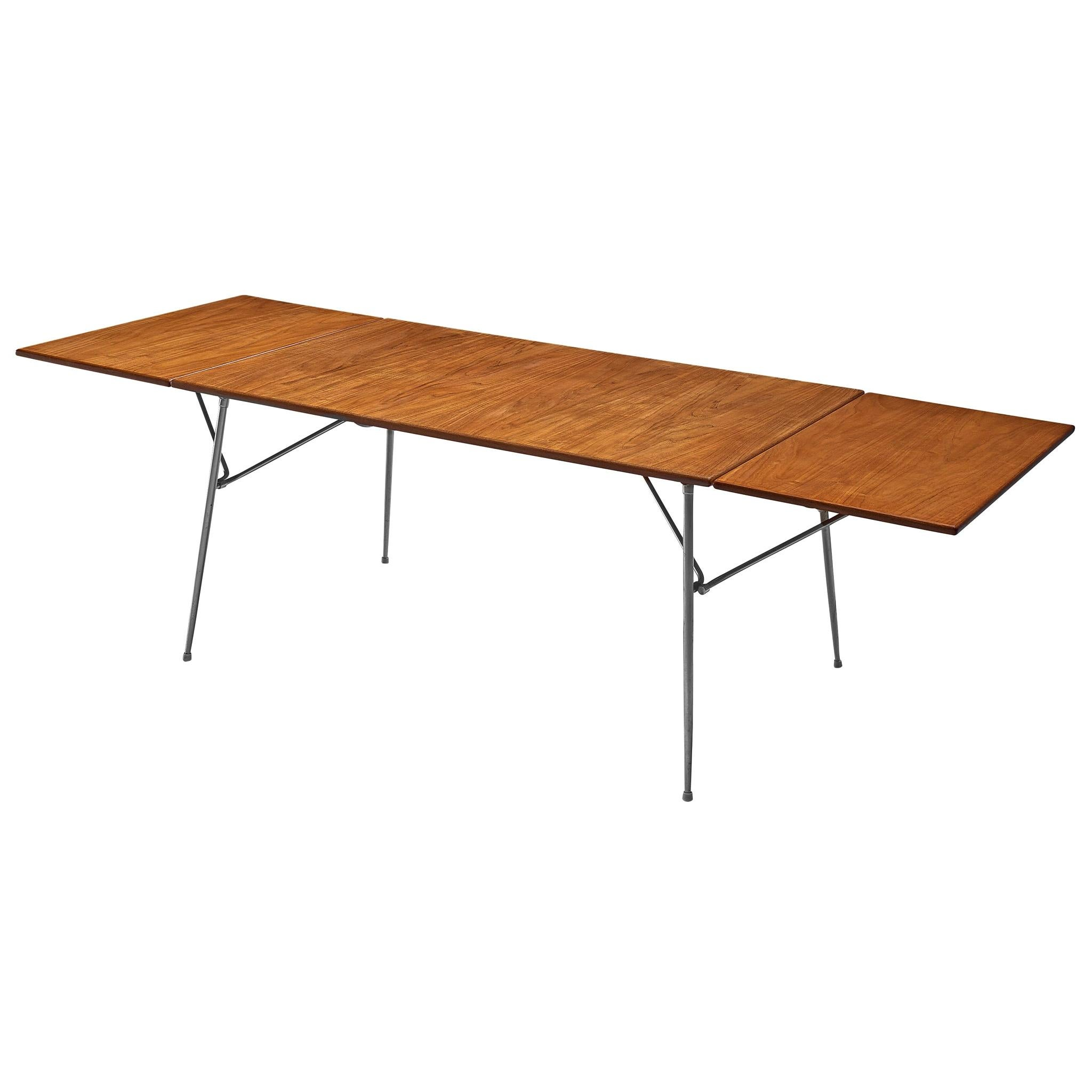 Børge Mogensen Drop-Leaf Dining Table in Teak and Steel
