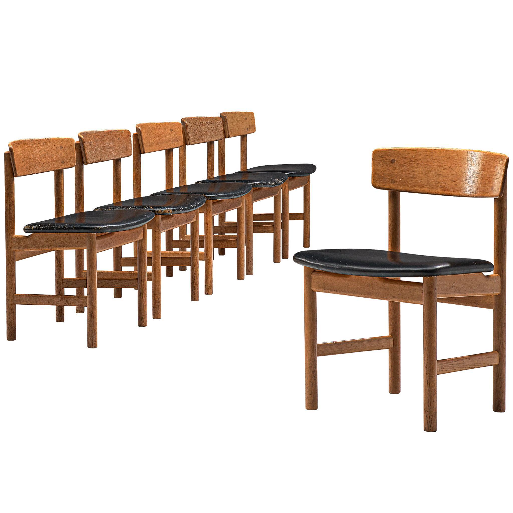 Børge Mogensen Early Set of Six Dining Chairs Model 3236 in Oak