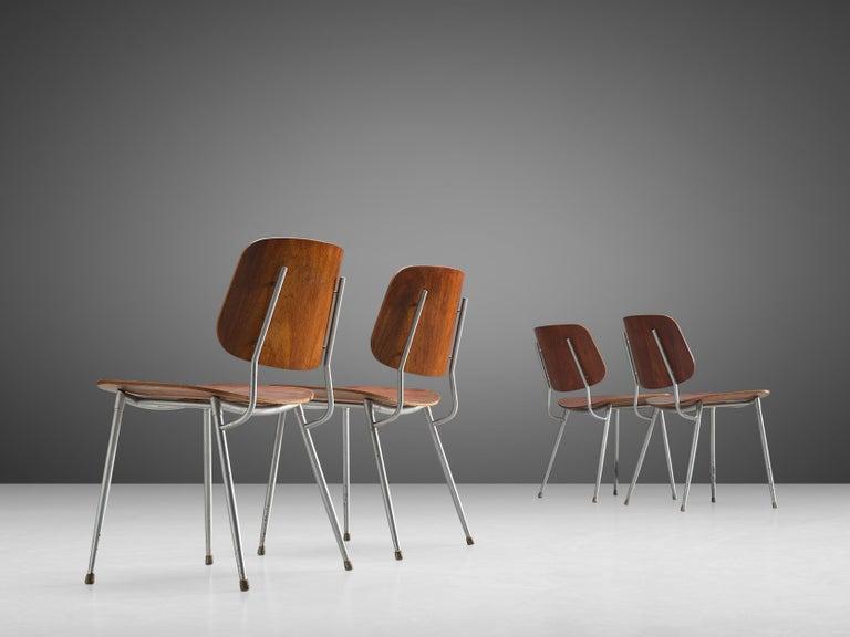 Mid-20th Century Børge Mogensen for Søborg Møbelfabrik Set of 4 Dining Chairs 201 in Teak For Sale