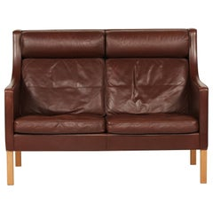 Børge Mogensen High Sofa 2432 with Brown Leather by Fredericia Furniture
