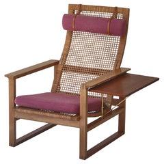 "Børge Mogensen Highback Lounge Chair ""Model 244"" in Oak & Rattan Cane, 1957"