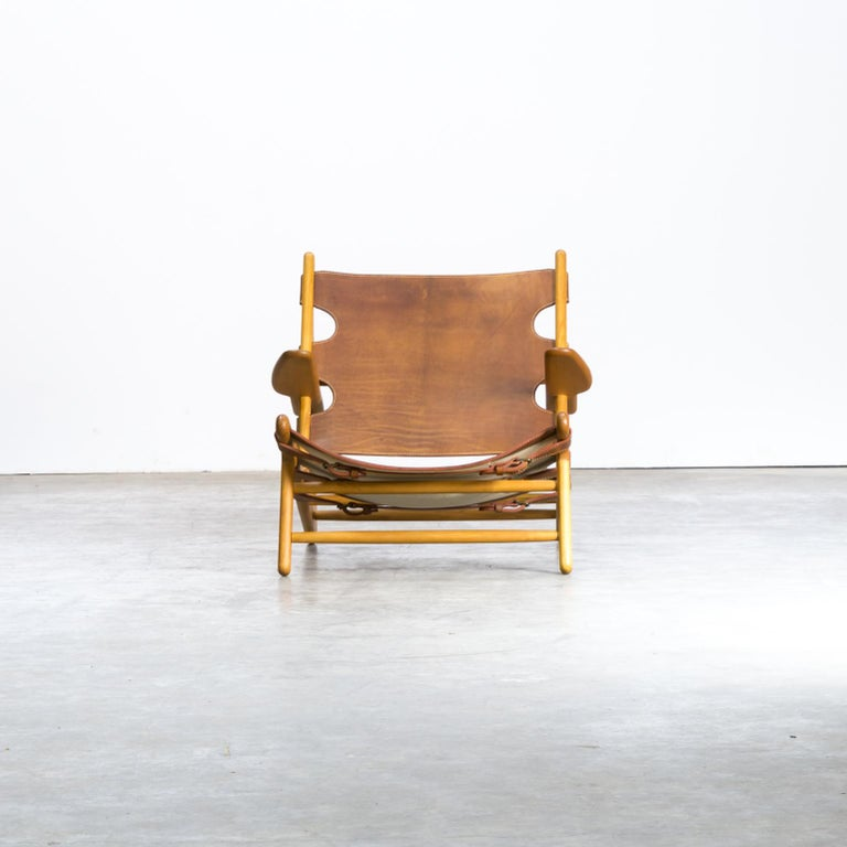 """Børge Mogensen 'Hunting' Chair, Model 2229 for Fredericia Stolefabrik. In 1950, the Copenhagen Cabinetmakers' Guild's exhibition presented furniture under the theme """"A Hunting Lodge"""", in which Mogensen had, for the first time, designed furniture"""
