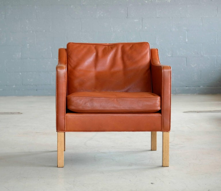 Danish Børge Mogensen Lounge Chair Model 2421 in Down Filled Cognac Colored Leather For Sale