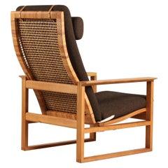 Børge Mogensen Lounge Sled Chair 2254 of Oak + Cane by Fredericia Furniture 60s