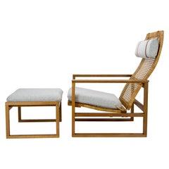 Børge Mogensen Midcentury 2254 Armchair and 2248 Footstool, Denmark, 1950s