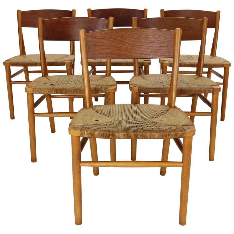 Børge Mogensen 'Model 157' Set of 6 Dinning Room Chairs for Søborg Møbler, 1950 For Sale