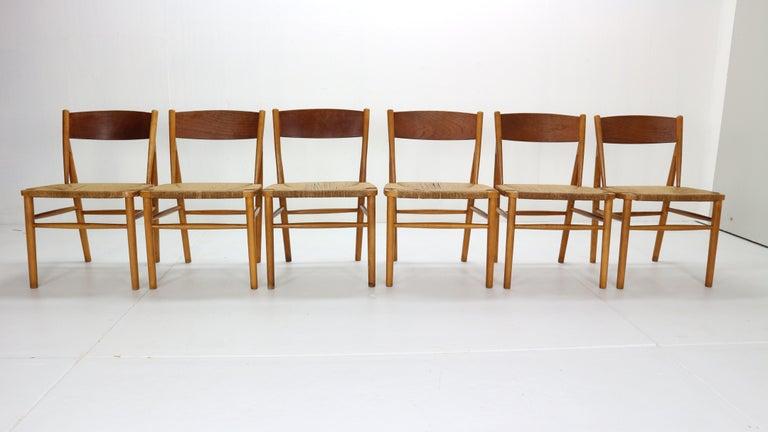 Scandinavian Modern Børge Mogensen 'Model 157' Set of 6 Dinning Room Chairs for Søborg Møbler, 1950 For Sale