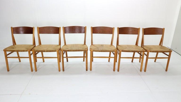 Danish Børge Mogensen 'Model 157' Set of 6 Dinning Room Chairs for Søborg Møbler, 1950 For Sale
