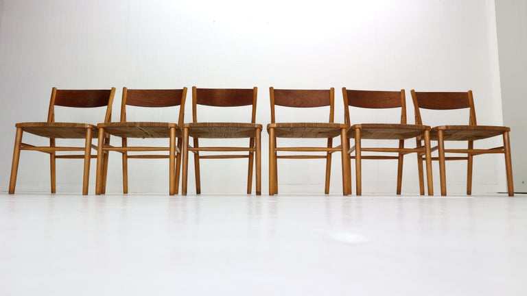 Hand-Woven Børge Mogensen 'Model 157' Set of 6 Dinning Room Chairs for Søborg Møbler, 1950 For Sale
