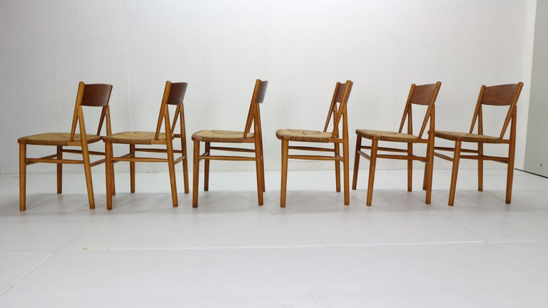 Børge Mogensen 'Model 157' Set of 6 Dinning Room Chairs for Søborg Møbler, 1950 In Good Condition For Sale In The Hague, NL