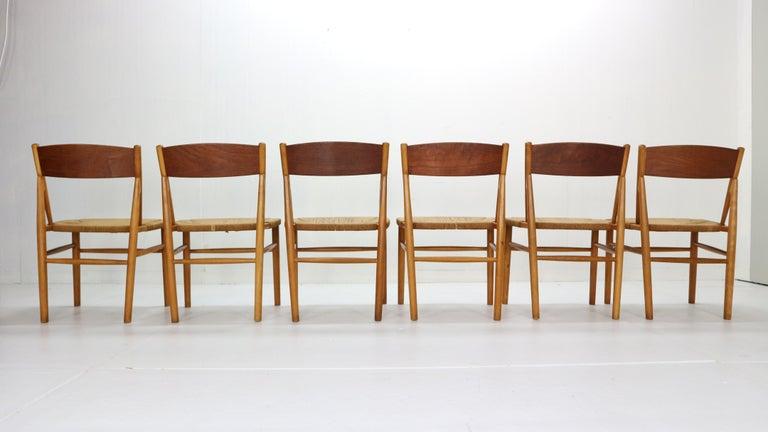 Mid-20th Century Børge Mogensen 'Model 157' Set of 6 Dinning Room Chairs for Søborg Møbler, 1950 For Sale