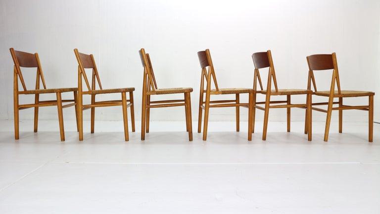 Teak Børge Mogensen 'Model 157' Set of 6 Dinning Room Chairs for Søborg Møbler, 1950 For Sale