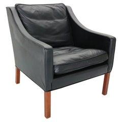 Børge Mogensen Model #2207 Black Leather Lounge Chair, 1960s Denmark
