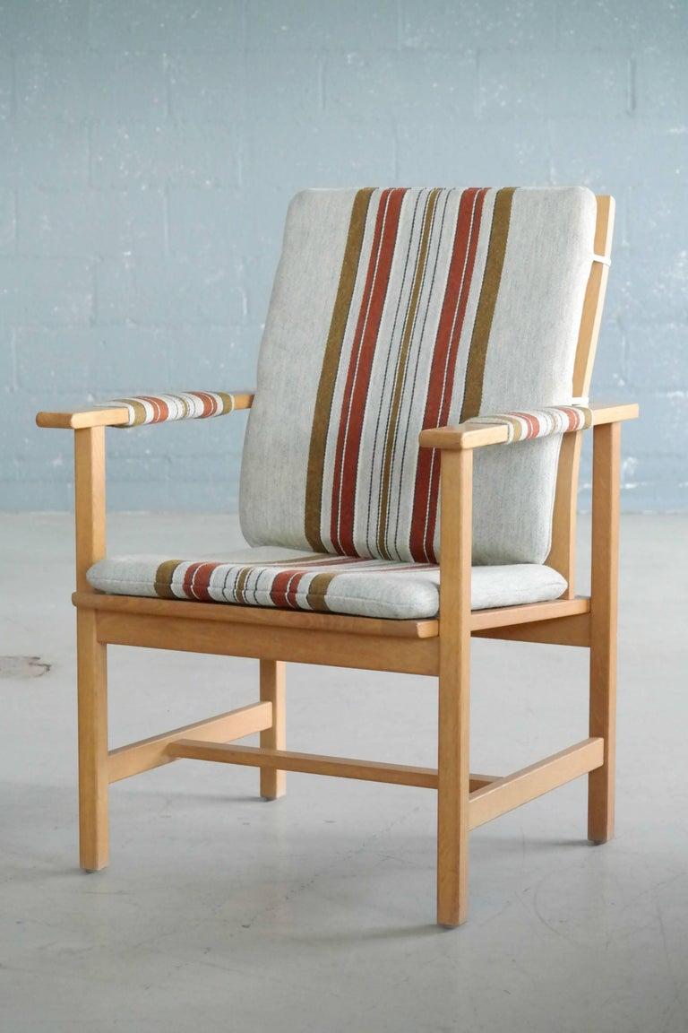 Danish Børge Mogensen Model 2257 1960s Oak Lounge Chair for Fredericia Stolefabrik