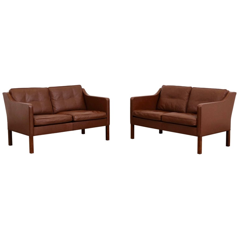 Børge Mogensen Model 2422 Fredericia Brown Leather Sofa Or Loveseat Set Of Two