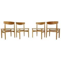 """Børge Mogensen """"Model-537 Øresund"""" Set of 4 Dining Oak Chairs for Karl Andersson"""