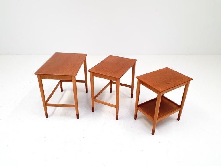 Børge Mogensen Nest of Tables for Søborg Møbelfabrik, Denmark, 1960s For Sale 3