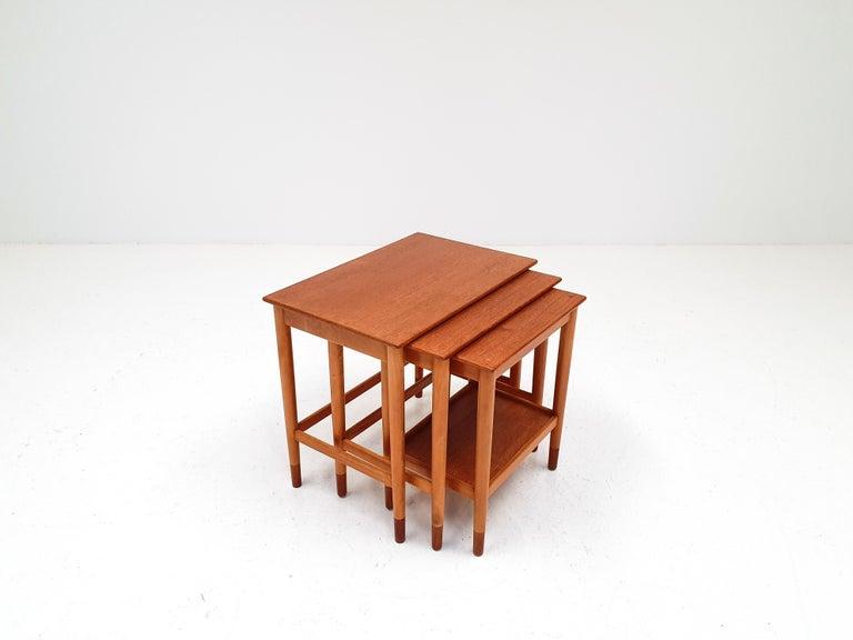 Mid-Century Modern Børge Mogensen Nest of Tables for Søborg Møbelfabrik, Denmark, 1960s For Sale