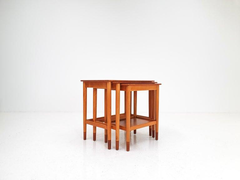 20th Century Børge Mogensen Nest of Tables for Søborg Møbelfabrik, Denmark, 1960s For Sale