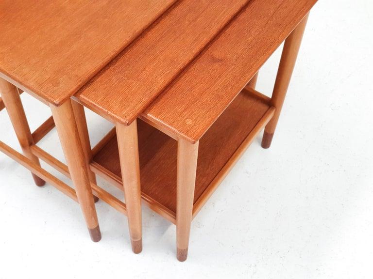 Teak Børge Mogensen Nest of Tables for Søborg Møbelfabrik, Denmark, 1960s For Sale