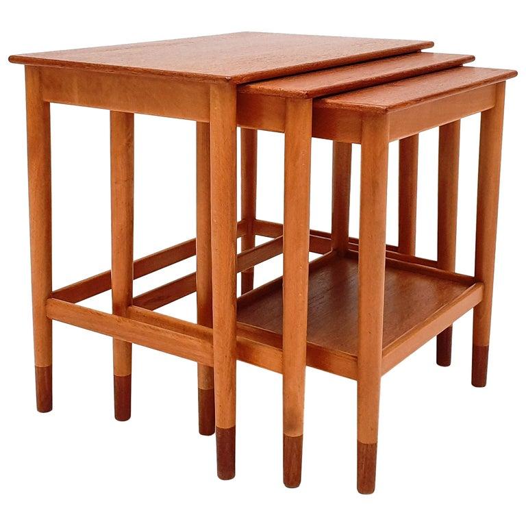 Børge Mogensen Nest of Tables for Søborg Møbelfabrik, Denmark, 1960s For Sale