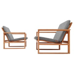 Børge Mogensen Oak Lounge Sled Chairs Designed 1956 for Frederica Stolefabrik