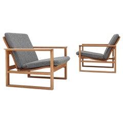 Børge Mogensen Oak Lounge Sled Chairs Designed 1956 for Frederica Stolefabrik