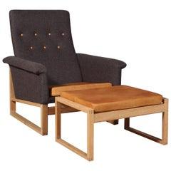 Børge Mogensen Oak Sled Lounge Chair with Ottoman