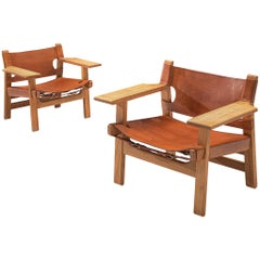 Børge Mogensen Pair of 'Spanish Chairs with Cognac Leather
