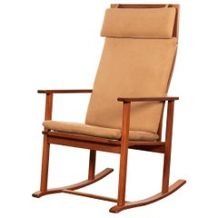 Børge Mogensen Rocking Chair Model 2268 in Mahogany and Alcantara for Fredericia