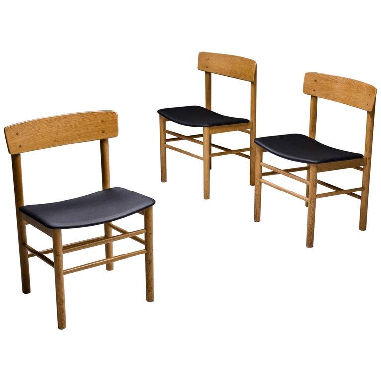 Børge Mogensen Scandinavian Modern Dining Chairs in Oak For Sale