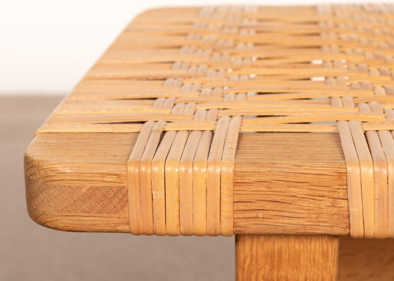Børge Mogensen Set Benches Model 5273 in Natural Oak and Wicker for Fredericia For Sale 3