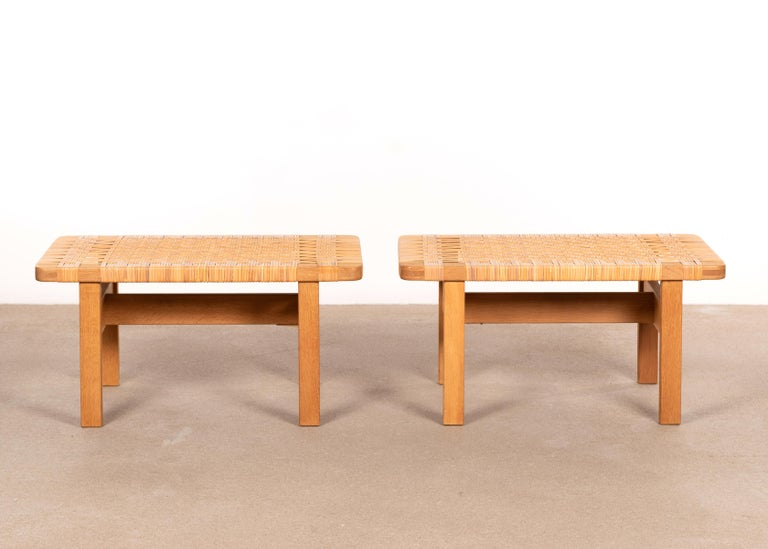 Scandinavian Modern Børge Mogensen Set Benches Model 5273 in Natural Oak and Wicker for Fredericia For Sale