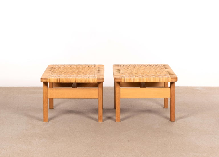 Danish Børge Mogensen Set Benches Model 5273 in Natural Oak and Wicker for Fredericia For Sale