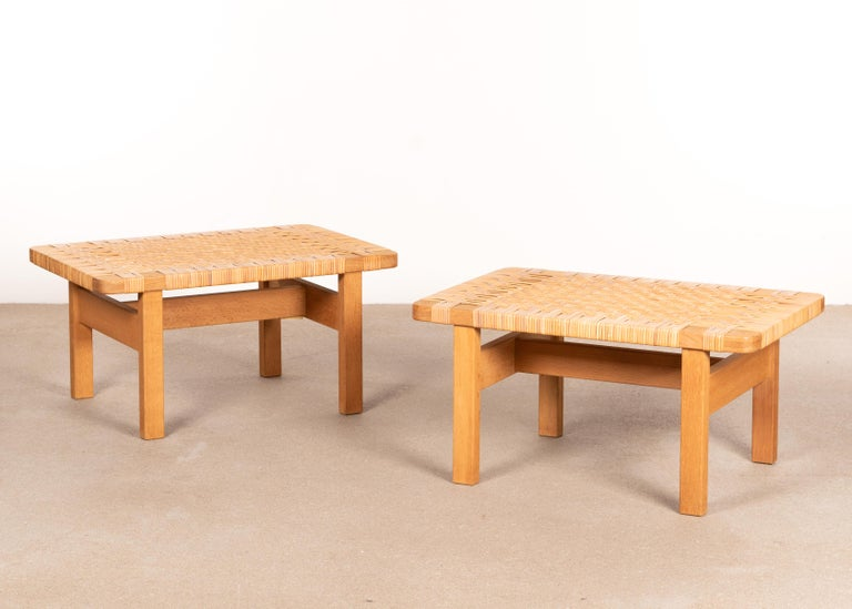 Børge Mogensen Set Benches Model 5273 in Natural Oak and Wicker for Fredericia In Good Condition For Sale In Amsterdam, NL