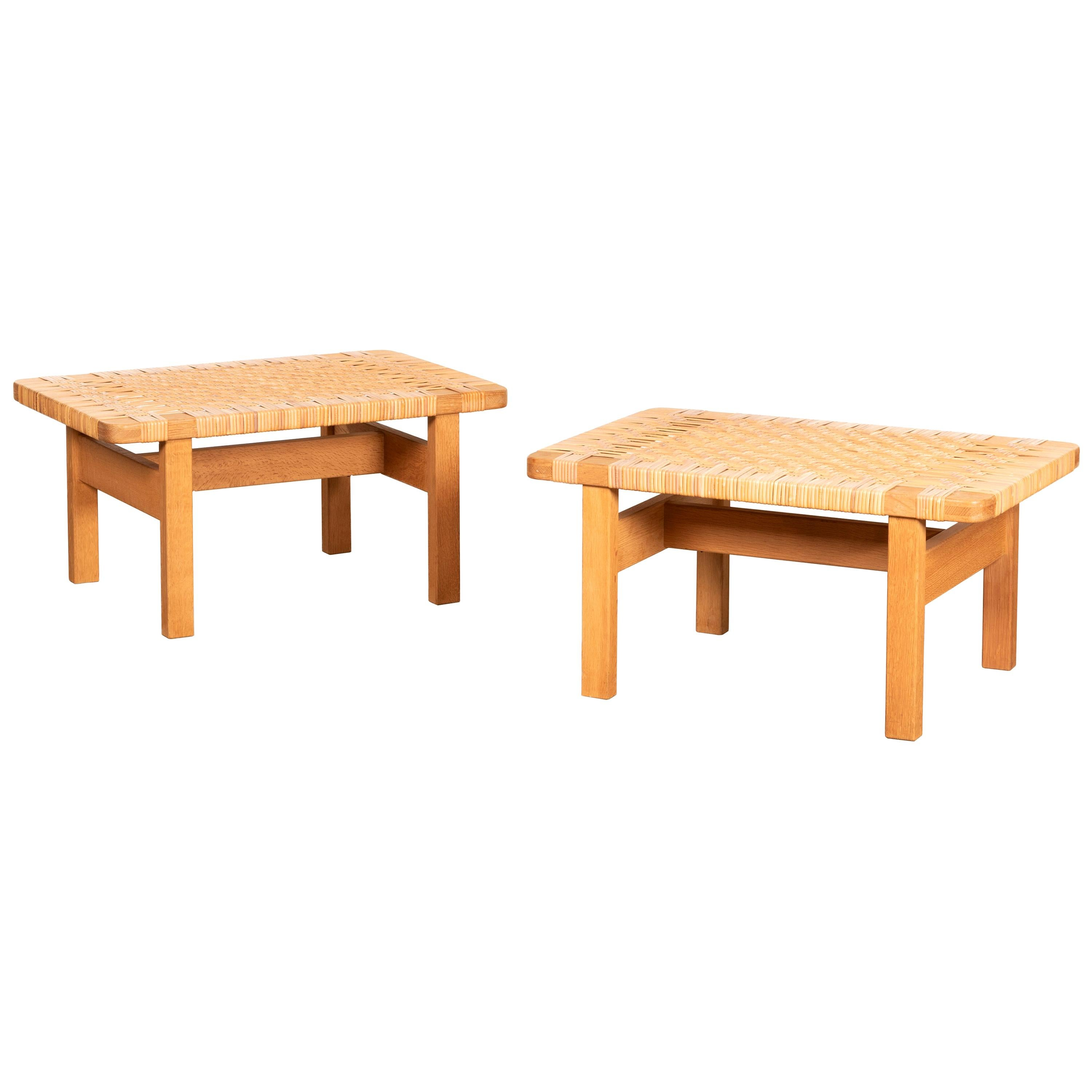 Børge Mogensen Set Benches Model 5273 in Natural Oak and Wicker for Fredericia