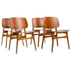 Børge Mogensen Set of 4 Dining Chairs Model 155 for Søborg Møbler Denmark 1950s