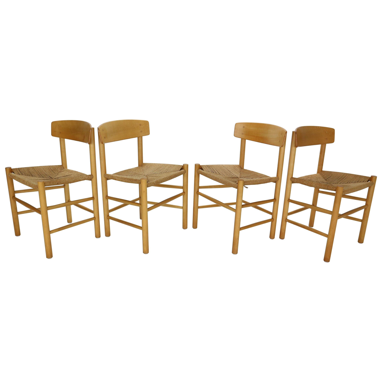 "Børge Mogensen Set of 4 ""J39"" Dinning Oak Chairs for FDB Møbler, 1947, Denmark"