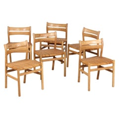 Børge Mogensen Set of 6 Dining Chairs of Oak + Cane BM 1 by C. M. Madsen Denmark