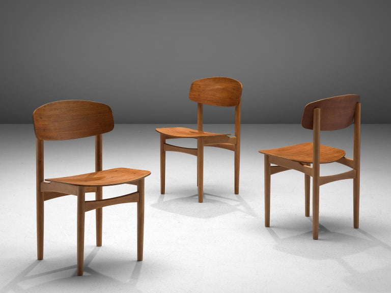 Børge Mogensen Set of Eight Dining Chairs in Teak In Good Condition For Sale In Waalwijk, NL